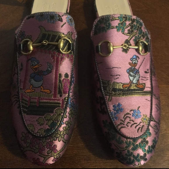 92646677055 Gucci Shoes - Gucci Donald Duck Jacquard Princetown Loafers (37)